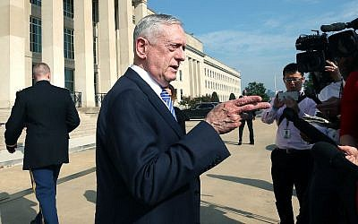 US Defense Secretary Jim Mattis speaks to the media before hosting the foreign minister of Oman at the Pentagon in Arlington, Virginia, on July 27, 2018. (Mark Wilson/Getty Images/AFP)