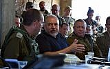 Defense Minister Avigdor Liberman meets with senior IDF officers during an exercise simulating warfare in the Gaza Strip on July 17, 2018. (Ariel Hermoni/Defense Ministry)