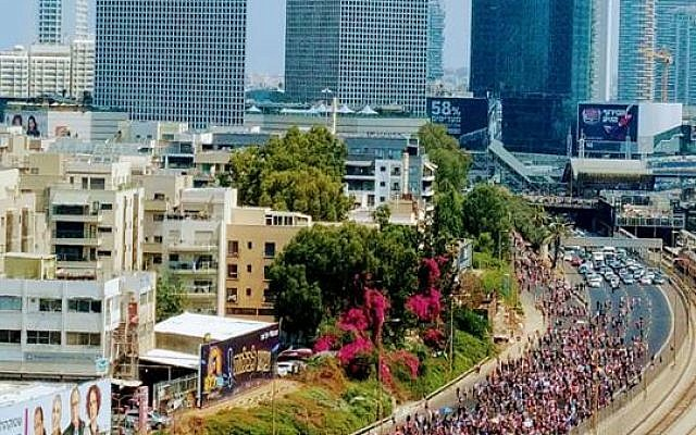 Protesters for LGBT rights march on Tel Aviv's Ayalon freeway, July 22, 2018 (The Agudah Facebook page)