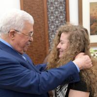Mahmoud Abbas, left, and Ahed Tamimi in Ramallah on July 29. 2018. (WAFA)