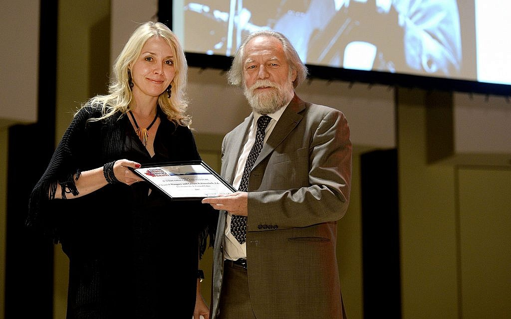 Chantal Ringuet receiving a 2017 Canadian Jewish Literary Award from Alain Goldschlager at York University in Totonto. (Courtesy)