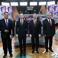 """In this May 20, 2018 file photo released by Mexico's National Electoral Institute, INE, presidential candidates, from left, independent Jaime Rodriguez, known as """"El Bronco,"""" Ricardo Anaya of the Forward for Mexico Coalition, Jose Antonio Meade, of the Institutional Revolutionary Party, and Andres Manuel Lopez Obrador, with the MORENA party, attend the second of three debates in Tijuana, Mexico. (INE via AP, File)"""