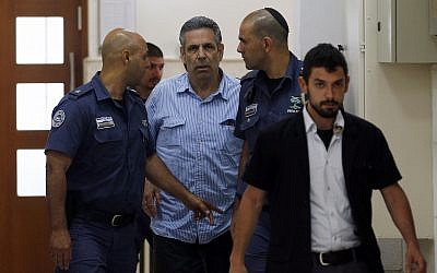 Gonen Segev, a former Israeli government minister indicted on suspicion of spying for Iran, is seen in the District Court in Jerusalem, July 5, 2018. (Ronen Zvulun/Pool Photo via AP)