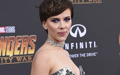 "In this April 23, 2018 file photo, Scarlett Johansson arrives at the world premiere of ""Avengers: Infinity War"" in Los Angeles. (Photo by Jordan Strauss/Invision/AP)"