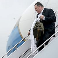 US Secretary of State Mike Pompeo arrives at Yokota Air Force Base in Fussa, Japan, Friday, July 6, 2018, for a refueling stop on his way to Pyongyang, North Korea. (AP Photo/Andrew Harnik, Pool)