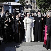 Pope Francis arrives to host a daylong prayer for peace in the Middle East with an unprecedented gathering of Orthodox patriarchs and Catholic leaders in Bari, southern Italy, Saturday, July 7, 2018 (AP Photo/Alessandra Tarantino)