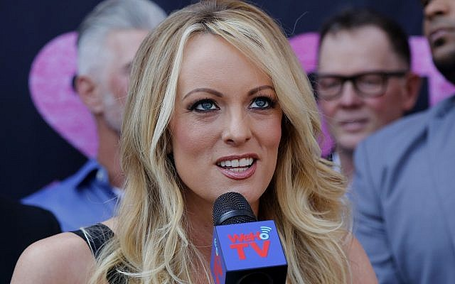 Stormy Daniels speaks during a ceremony in West Hollywood, California, May 23, 2018. (AP/Ringo H.W. Chiu)
