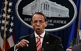 Deputy Attorney General Rod Rosenstein speaks during a news conference at the Department of Justice in Washington on July 13, 2018. (AP Photo/Evan Vucci)