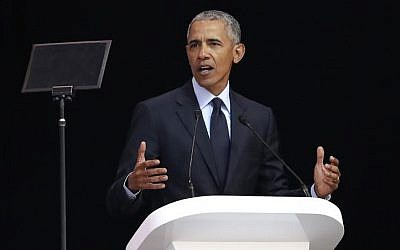 Former US President Barack Obama delivers his speech at the 16th Annual Nelson Mandela Lecture at the Wanderers Stadium in Johannesburg, South Africa, Tuesday, July 17, 2018 (AP Photo/Themba Hadebe)