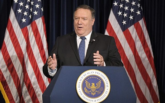 US Secretary of State Mike Pompeo speaks at the Ronald Reagan Presidential Library, Sunday, July 22, 2018, in Simi Valley, Calif. (AP Photo/Mark J. Terrill)
