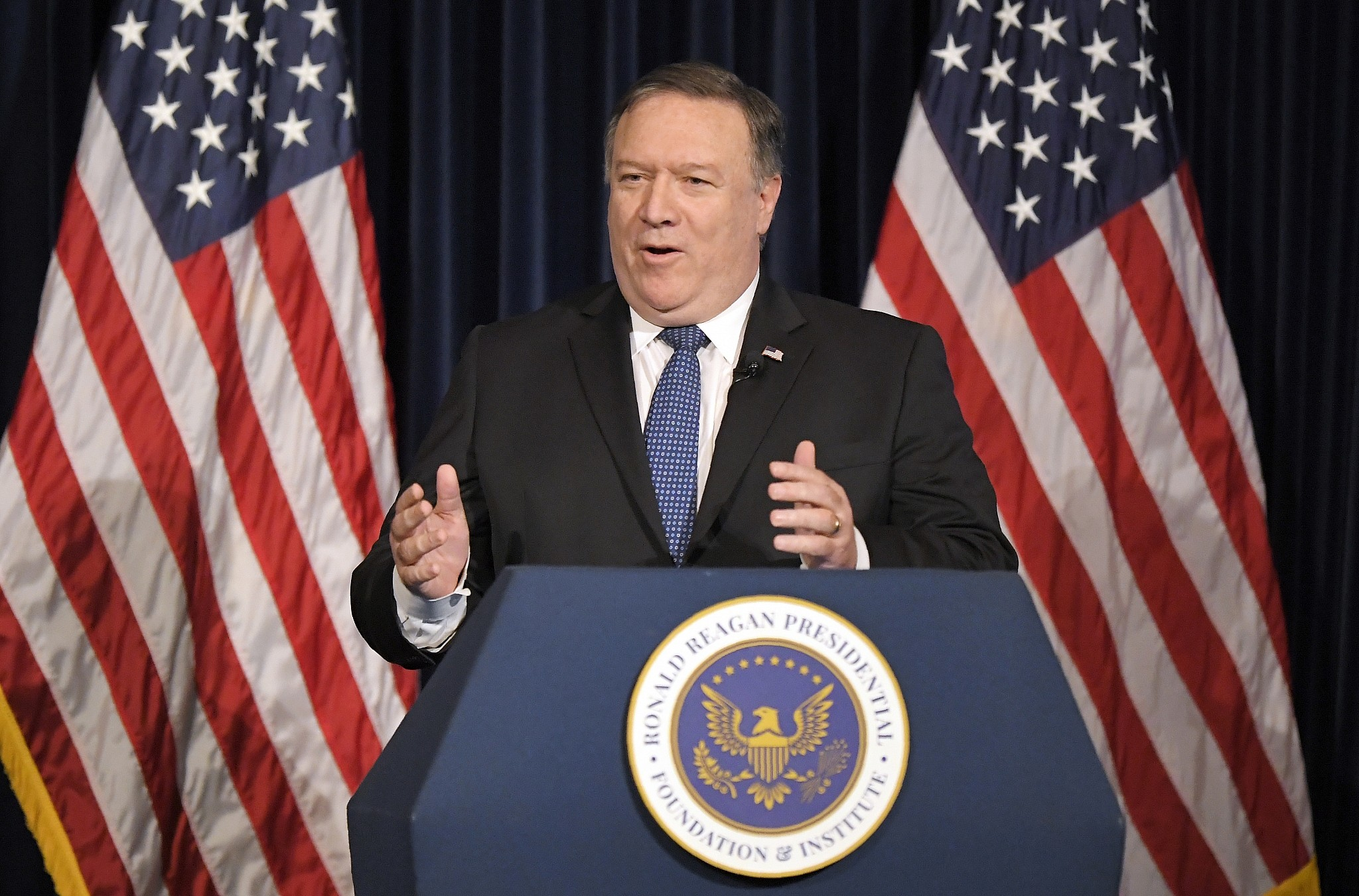 US Secretary of State Mike Pompeo speaks at the Ronald Reagan Presidential Library Sunday