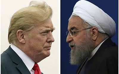 This combination of pictures shows US President Donald Trump, left, on July 22, 2018, and Iranian President Hassan Rouhani on February 6, 2018. (AP Photo)