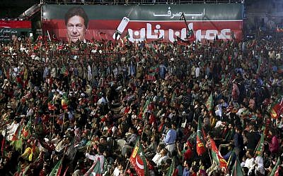 Supporters of Pakistani politician Imran Khan attend his election rally in Karachi, Pakistan, July 22, 2018. (AP Photo/Shakil Adil, File)