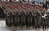 File photo of Lebanese army special forces marching during a military parade to mark the 74th anniversary of Lebanon's independence from France in downtown Beirut, Lebanon, November 22, 2017. (AP Photo/Hussein Malla)