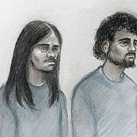 This court artist sketch by Elizabeth Cook shows Naa'imur Zakariyah Rahman, left, and Mohammed Aqib Imran in the dock at Westminster Magistrates' Court in London, December 6, 2017. (Elizabeth Cook/PA via AP)
