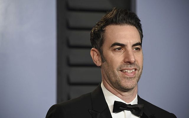Sacha Baron Cohen arrives at the Vanity Fair Oscar Party on March 4, 2018, in Beverly Hills, California. (Evan Agostini/Invision/AP)