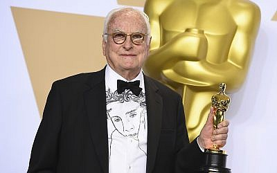 James Ivory, winner of the award for best adapted screenplay for 'Call Me by Your Name,' poses in the press room at the Oscars on Sunday, March 4, 2018, at the Dolby Theatre in Los Angeles. (Photo by Jordan Strauss/Invision/AP)