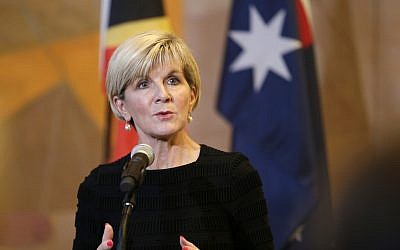 Australian Foreign Minister Julie Bishop at United Nations headquarters, March 6, 2018. (AP Photo/Seth Wenig)