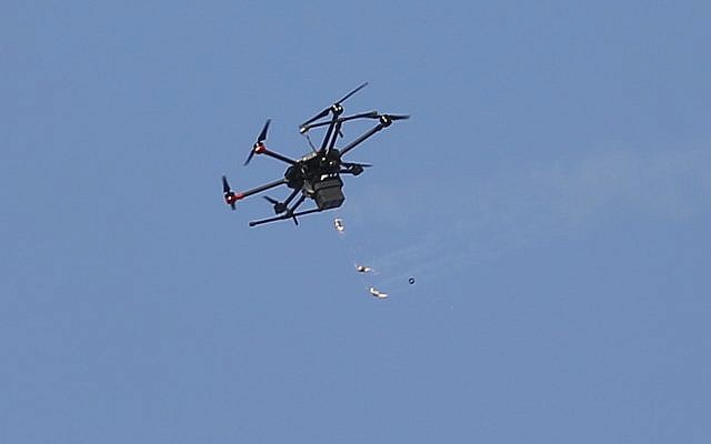Illustrative: An Israeli drone in flight over Gaza (AP Photo/Hatem Moussa)