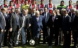 Palestinian Authority President Mahmoud Abbas atthe  La Cisterna Municipal Stadium during a visit with soccer club Deportivo Palestino, in Santiago, Chile, May 10, 2018.(AP Photo/Esteban Felix)