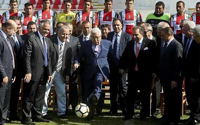 Palestinian Authority President Mahmoud Abbas at the La Cisterna Municipal Stadium during a visit with soccer club Deportivo Palestino, in Santiago, Chile, May 10, 2018.(AP Photo/Esteban Felix)