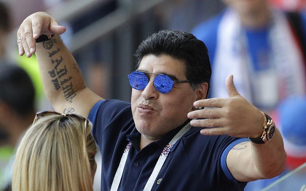 'In my heart, I'm Palestinian,' soccer's Maradona tells Abbas