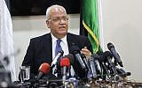 Top Palestinian negotiator Saeb Erekat speaks during at a press conference in the West Bank city of Ramallah, July 4, 2018. (AP Photo/Nasser Shiyoukhi)