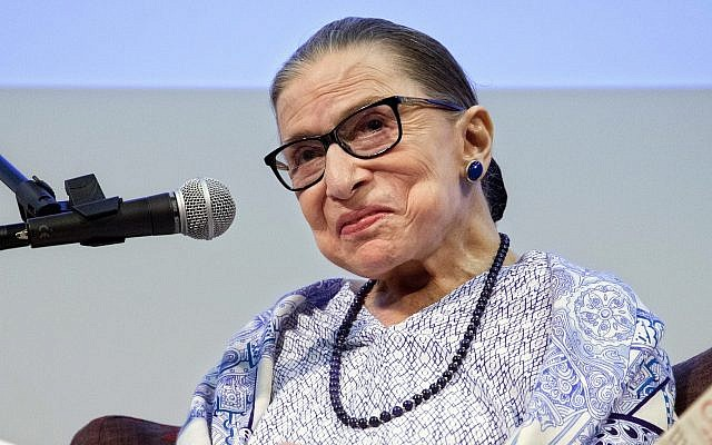 US Supreme Court Justice Ruth Bader Ginsburg speaks after the screening of 'RBG,' a documentary about her, in Jerusalem, Thursday, July 5, 2018. (AP Photo/Caron Creighton)