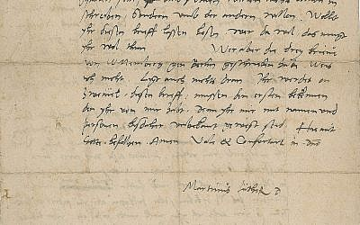 Part of a September 1543 letter signed by Protestant reformer Martin Luther. The letter, penned in German, was to be put up for auction, July 11, 2018. (Courtesy of RR Auction via AP)