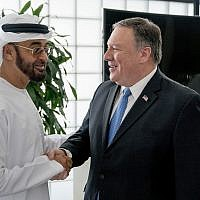 US Secretary of State Mike Pompeo, right, meets with Abu Dhabi's Crown Prince Sheikh Mohammed bin Zayed Al Nahyan, left, at the Al Shati Palace in Abu Dhabi‎, United Arab Emirates, July 10, 2018. (AP Photo/Andrew Harnik, Pool)