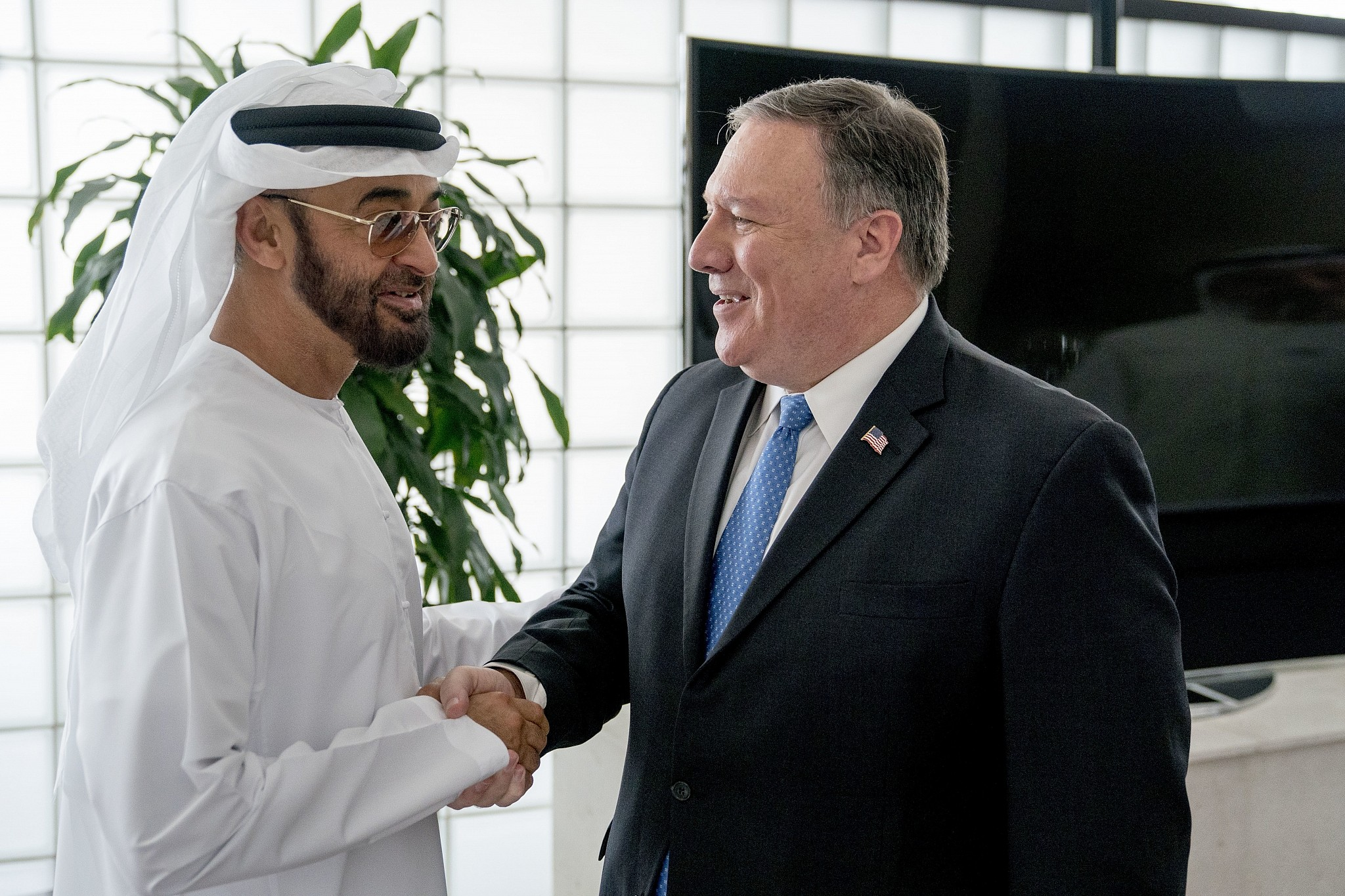 US Secretary of State Mike Pompeo right meets with Abu Dhabi's Crown Prince Sheikh Mohammed bin Zayed Al Nahyan left at the Al Shati Palace in Abu Dhabi‎ United Arab Emirates