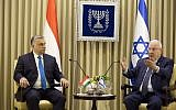 President Reuven Rivlin, right, with Hungarian Prime Minister Viktor Orban at the President's Residence in Jerusalem, July 19, 2018. (AP Photo/Ariel Schalit)