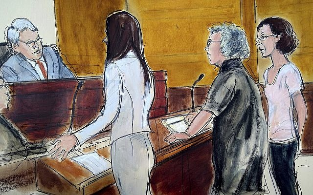 In this courtroom drawing, Clare Bronfman, right, is arraigned at federal court in New York, Tuesday, July 24, 2018 (AP Photo/Elizabeth Williams)