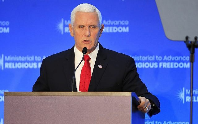 Vice President Mike Pence speaks at the close of a three-day conference on religious freedom at the State Department in Washington, Thursday, July 26, 2018. (AP Photo/Manuel Balce Ceneta)