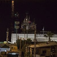 A boat intercepted by Israeli navy arrives at Ashdod port, Israel, Sunday, July 29, 2018. (AP/Tsafrir Abayov)