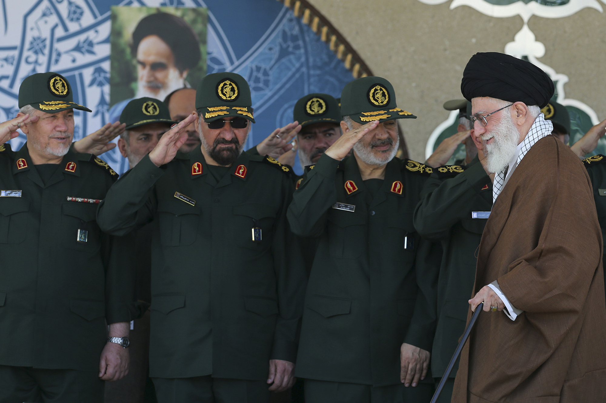 Iranian Supreme Leader, Ayatollah Ali Khamenei, at Revolutionary Guards officers' graduation ceremony.