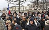 People gather for a protest against anti-Semitism, in Creteil, east of Paris, Sunday Dec. 7, 2014, An attack on a French Jewish couple  revived worries about long-simmering anti-Semitic sentiment in France. (AP Photo/Remy de la Mauviniere)
