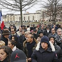 Illustrative People gather for a protest against anti-Semitism, in Creteil, east of Paris, Sunday, December 7, 2014, after an attack on a French Jewish couple revived worries about long-simmering anti-Semitic sentiment in France. (AP Photo/Remy de la Mauviniere)