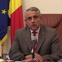 Screen capture from video of Romanian Agriculture Minister Petre Daea. (YouTube)