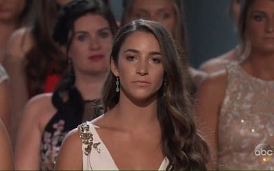 Jewish gold medalist Aly Raisman speaks at an event for survivors of sexual abuse by former US Olympics gymnastics team doctor Larry Nassar on July 18, 2018. (Screen capture: Twitter)