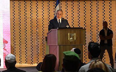 Prime Minister Benjamin Netanyahu addresses a ceremony in honor of Israel's fallen in the 2014 war in the Gaza Strip, July 3, 2018 (Haim Tzah/GPO)
