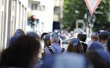 "The ""kippah walk"" in Berlin showed solidarity with Jews in the German capital on July 15, 2018. (JFNA Marketing via JTA)"