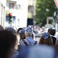 "The ""kippah walk"" in Berlin showed solidarity with Jews in the German capital on July 15, 2018. (JFNA Marketing via JTA)"