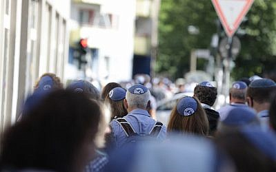 A 'kippah walk' in Berlin showing solidarity with Jews in the German capital on July 15, 2018 (JFNA Marketing via JTA)