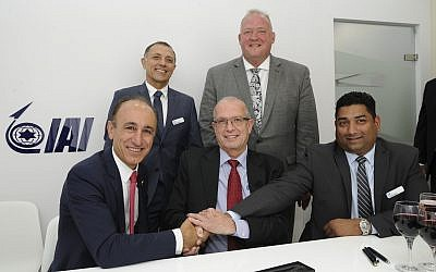 First row, left to right: Faith Ozmen, CEO & owner of SNC, Josef Weiss, IAI's CEO, Swami Iyer, CEO of IAI North America. Second row, left to right: Shaul Shahar, executive vice president & general manager of IAI's Military Aircraft Group, Tim Owings, executive vice president of SNC's Integrated Mission Systems business area (Courtesy)