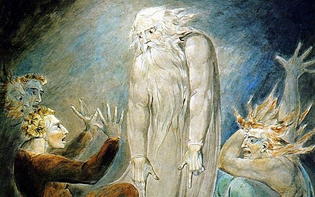 Detail from 'The Witch of Endor Raising The Spirit of Samuel,' by William Blake, circa 1800. Pen and watercolor on paper, 283 x 423 mm (Public domain, via wikipedia commons)