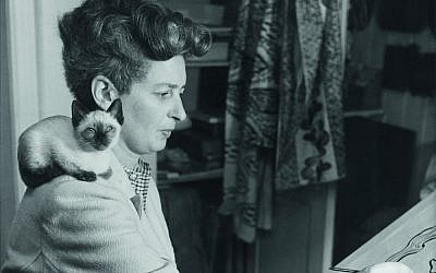 Enid Marx working on a textile design post, 1945. (Courtesy)