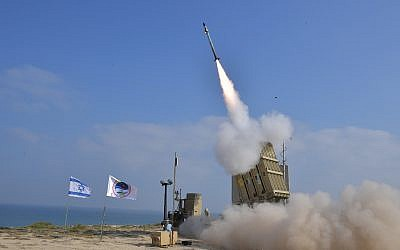 Illustrative: A missile launched from Palmachim air base in central Israel on July 4, 2018. (Defense Ministry)