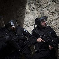 Illustrative: Druze soldiers on the Temple Mount in Jerusalem on March 8, 2013. (Yonatan Sindel/Flash90)