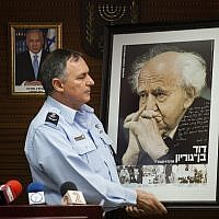 Then-commissioner of the Israeli Police Force Yohanan Danino during a ceremony at the national headquarters of the Israel Police in Jerusalem, on May 30, 2013. (Flash90)